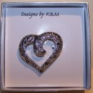 Open Heart Shape Silver Tone Filigree Pin with Crystals – NIB