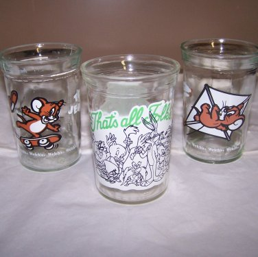 Vintage Welch�s Jelly GLASSES Set of 3 � 2 Tom & Jerry & 1 Looney Tunes