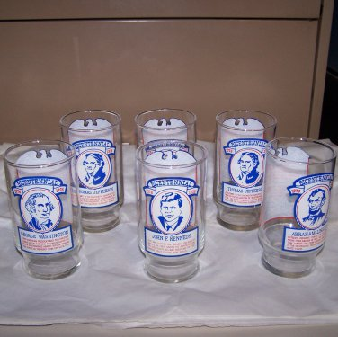 Burger Chef and Jeff Bicentennial Glasses set of 6 from 1975