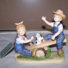 "Vintage Porcelain Denim Days ""See Saw"" Boy & Girl Figurine 1985 Homco #8827"
