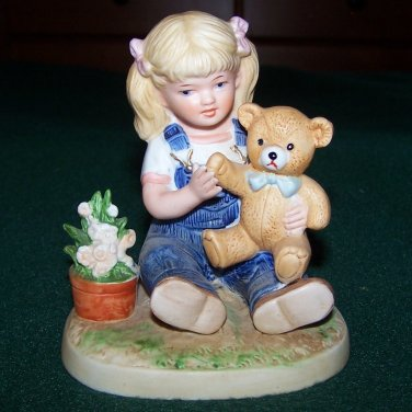 1985 Homco Denim Days Figurine of Debbie Holding Teddy Bear