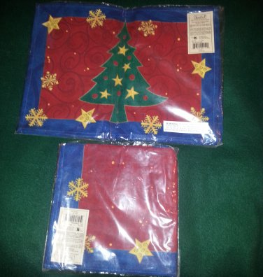 4 Christmas Placemats and Matching Napkins � 100% Cotton FREE SHIPPING