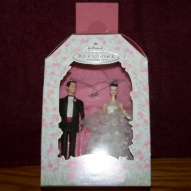 1997~HALLMARK KEEPSAKE~BARBIE AND KEN WEDDING DAY ORNAMENT or SMALL CAKE TOPPERS