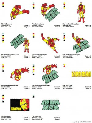 IRON-MAN - 11 EMBROIDERY DESIGNS