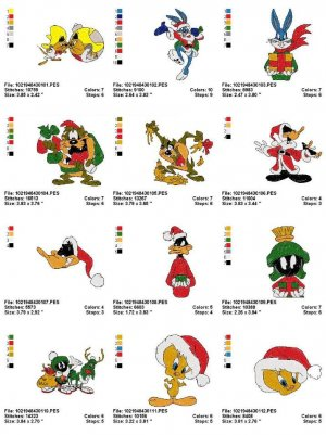 LOONEY TUNES CHRISTMAS - 20 EMBROIDERY DESIGNS