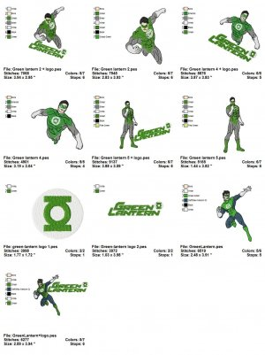 GREEN LANTERN - 10 EMBROIDERY DESIGNS