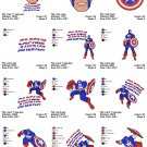 CAPTAIN AMERICA (1) - 12 EMBROIDERY DESIGNS