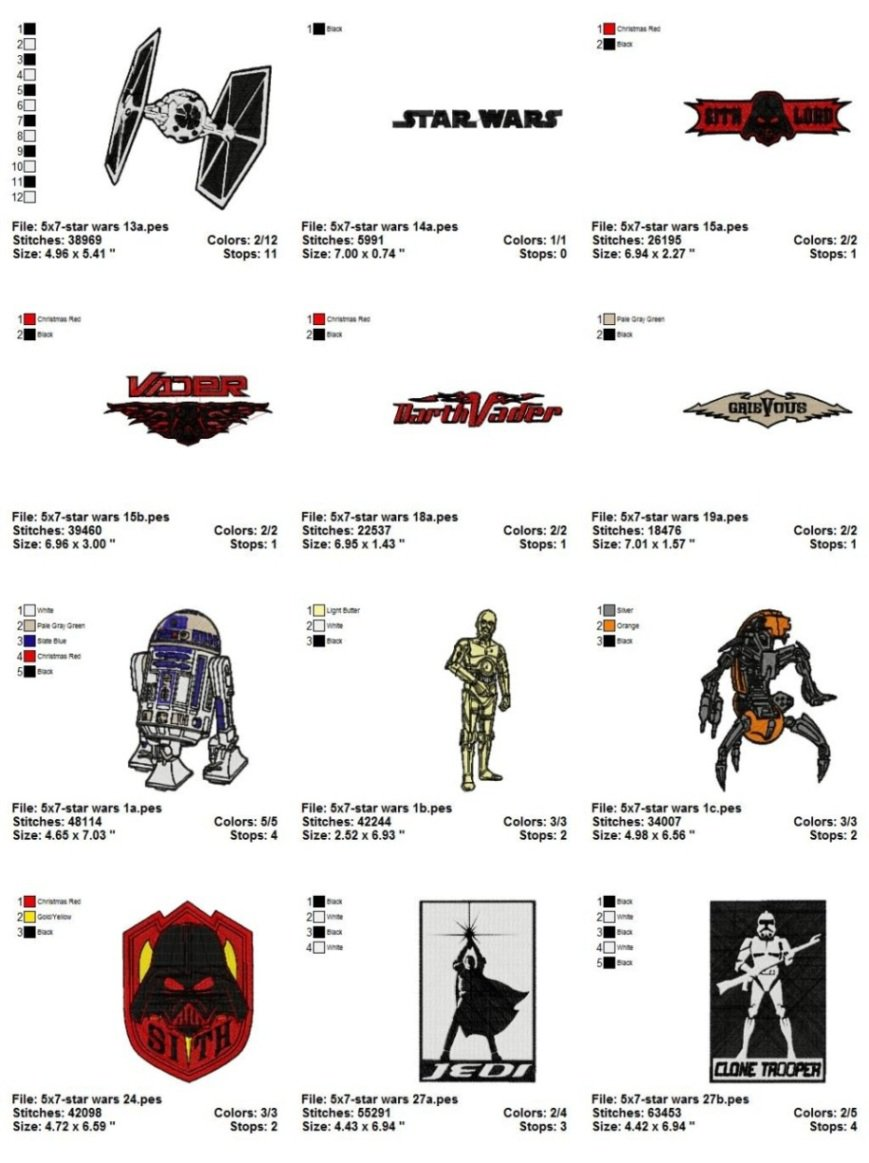 STAR WARS (1) - 17 EMBROIDERY DESIGNS