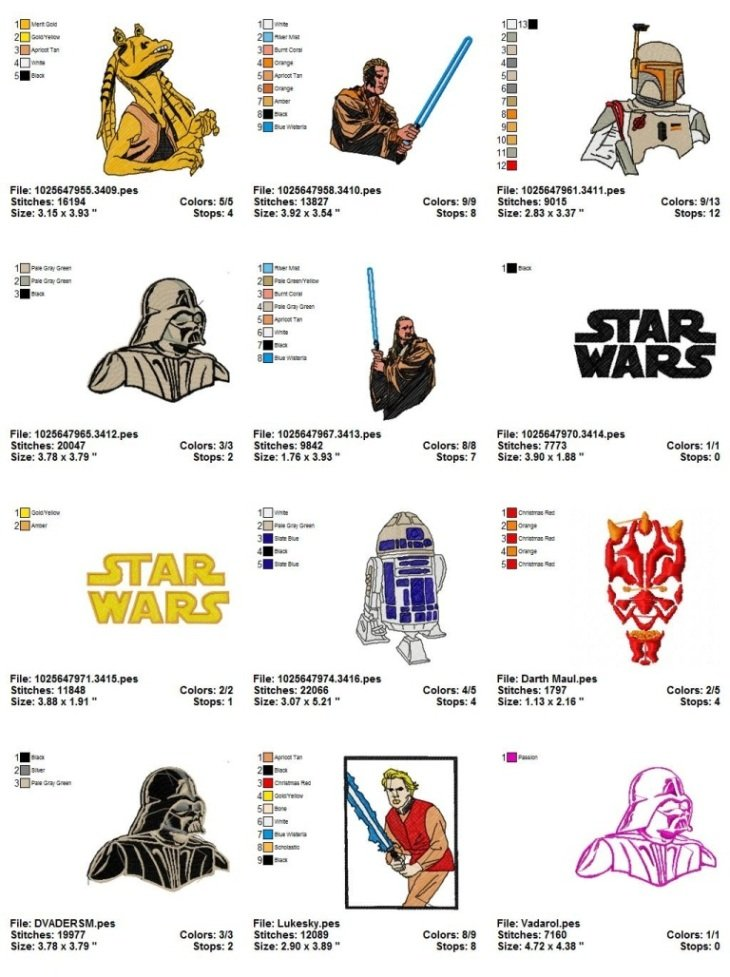 STAR WARS (2) - 15 EMBROIDERY DESIGNS