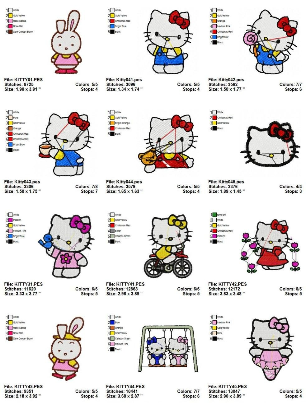 HELLO KITTY (1) - 12 EMBROIDERY DESIGNS