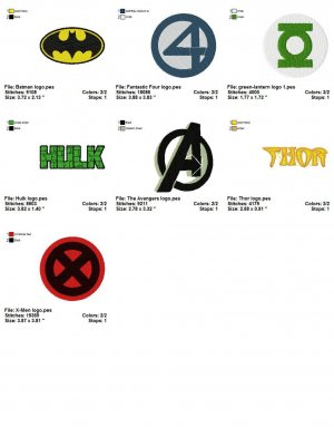 SUPER HEROES LOGO (1) - 7 Embroidery designs