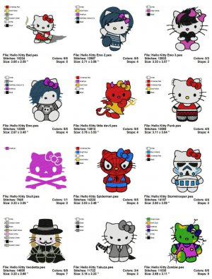 HELLO KITTY NEW TREND - 12 EMBROIDERY DESIGNS