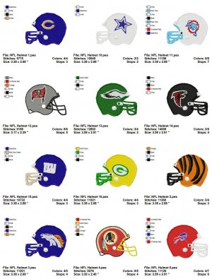 NFL HELMET (1) - 16 EMBROIDERY DESIGNS