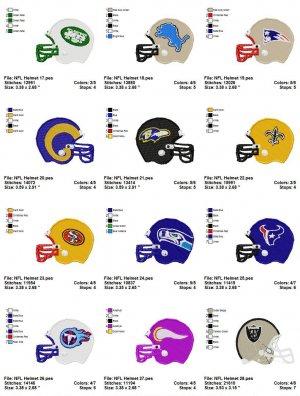 NFL HELMET (2) - 16 EMBROIDERY DESIGNS
