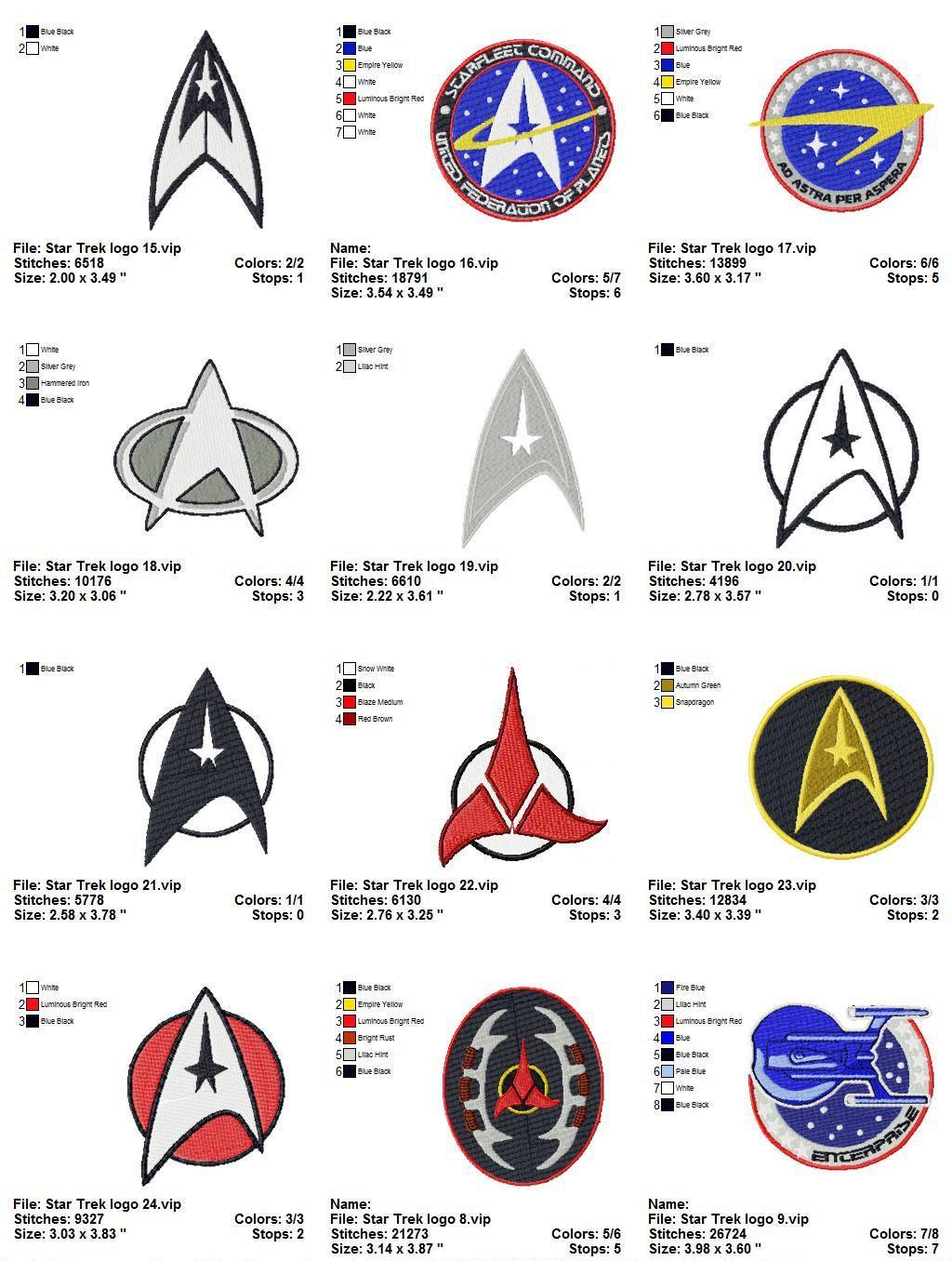 Star Trek Embroidery Designs