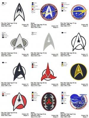 STAR TREK LOGO (2) - 12 EMBROIDERY DESIGNS