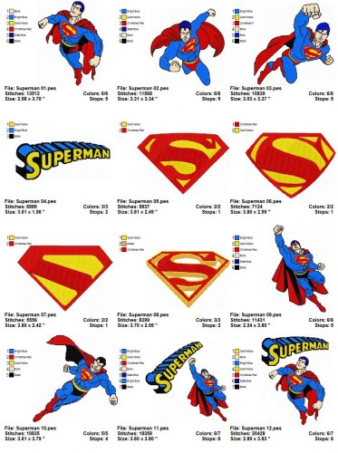 SUPERMAN (2) - 12 EMBROIDERY DESIGNS