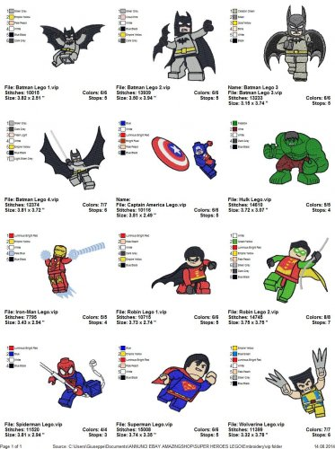 SUPER HEROES LEGO - 12 EMBROIDERY DESIGNS