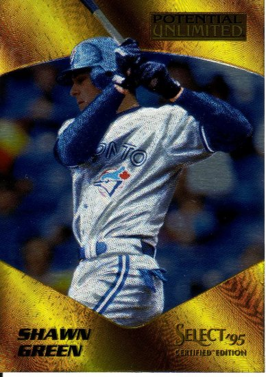 SHAWN GREEN 1995 SELECT CERTIFIED POTENTIAL UNLIMITED #14 TORONTO BLUE JAYS