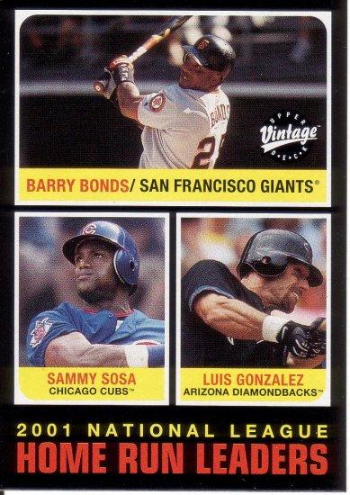 BARRY BONDS / SAMMY SOSA / LUIS GONZALEZ 2002 VINTAGE #274 GIANTS / CUBS / DIAMONDBACKS