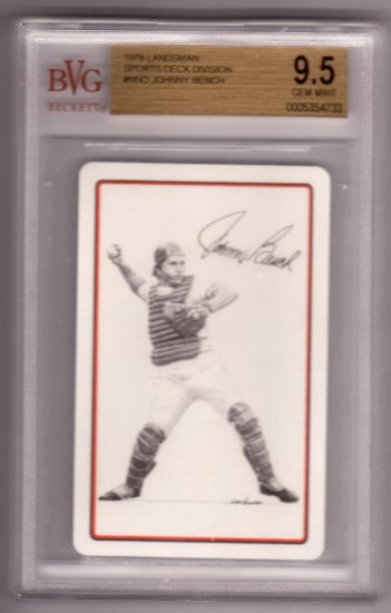 JOHNNY BENCH 1978 LANDSMAN SPORTS DECK NNO BVG BECKETT 9.5 GEM MINT CINCINNATI REDS