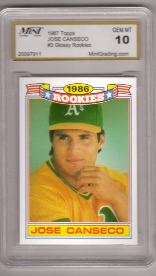 JOSE CANSECO 1987 TOPPS GLOSSY #3 ROOKIE MINT GRADING GEM MT 10 OAKLAND ATHLETICS