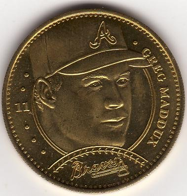 GREG MADDUX 1997 PINNACLE MINT BRASS COIN #11 ATLANTA BRAVES