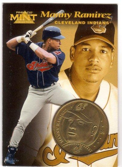 MANNY RAMIREZ 1997 PINNACLE MINT BRASS COIN #14 W/ DIE-CARD CLEVELAND INDIANS
