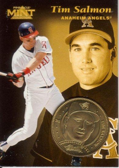 TIM SALMON 1997 PINNACLE MINT BRASS COIN #24 W/ DIE-CARD ANAHEIM ANGELS