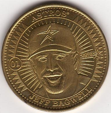 JEFF BAGWELL 1998 PINNACLE MINT BRASS COIN #01 HOUSTON ASTROS