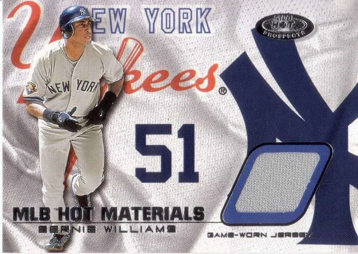 BERNIE WILLIAMS 2002 FLEER HOT PROSPECTS MLB HOT MATERIALS JERSEY #HM-BW NEW YORK YANKEES