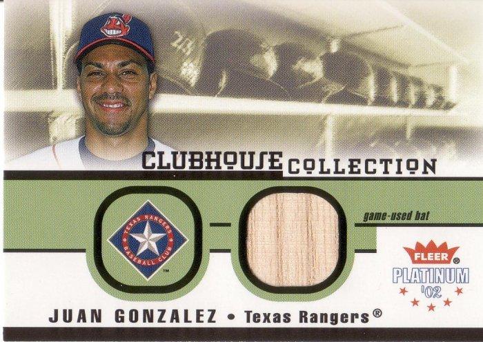 JUAN GONZALEZ 2002 PLATINUM CLUBHOUSE COLLECTION BAT #14