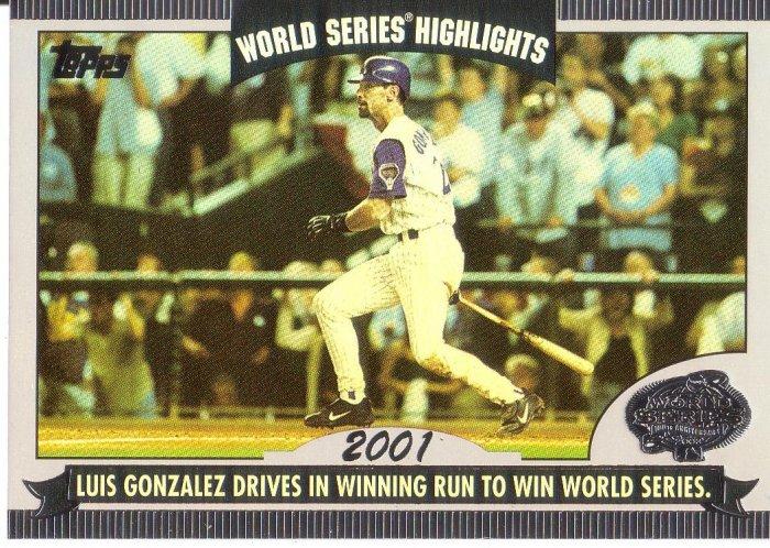 LUIS GONZALEZ 2004 TOPPS WORLD SERIES HIGHLIGHTS 2001 #LG ARIZONA DIAMONDBACKS