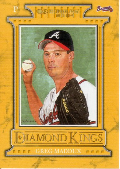 GREG MADDUX 2004 DONRUSS DIAMOND KINGS STUDIO SERIES #2 SP# 2187/2500 ATLANTA BRAVES