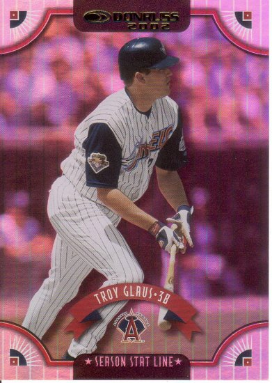 TROY GLAUS 2002 DONRUSS SEASON STAT LINE #147 SP# 099/108 ANAHEIM ANGELS