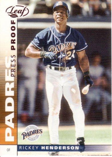 RICKEY HENDERSON 2002 LEAF PRESS PROOF RED #96 SAN DIEGO PADRES