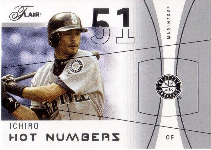 ICHIRO 2004 FLAIR HOT NUMBERS #33 SP# 440/500 SEATTLE MARINERS