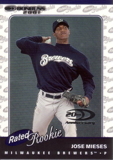 JOSE MIESES 2001 DONRUSS RATED ROOKIE #175 SP# 1111/2001 MILWAUKEE BREWERS