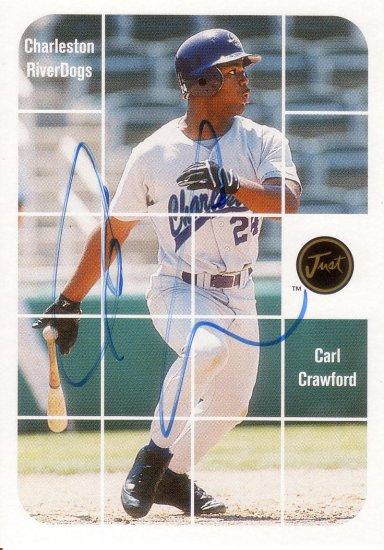 CARL CRAWFORD 2001 JUST STUFF AUTO #BA53 CHARLESTON RIVERDOGS AllstarZsports.com