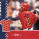 FELIPE LOPEZ 2001 STADIUM CLUB PROSPECT PERFORMANCE JERSEY #PRP7 ROOKIE BLUE JAYS AllstarZsports.com