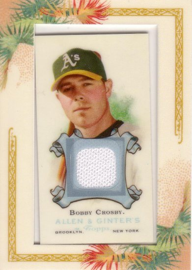 BOBBY CROSBY 2006 TOPPS ALLEN & GINTER JERSEY RELIC #AGR-BC OAKLAND ATHLETICS AllstarZsports.com