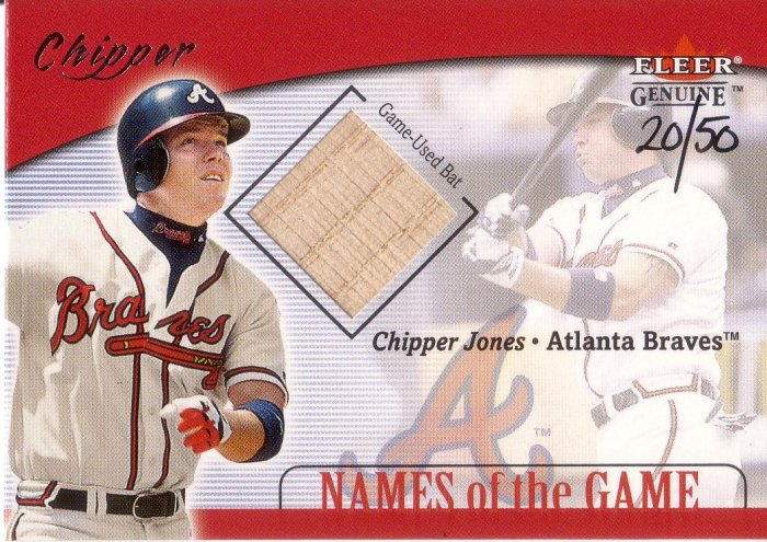 CHIPPER JONES 2001 GENUINE NAMES OF THE GAME BAT #14 SP# 20/50 HAND #'D BRAVES AllstarZsports.com