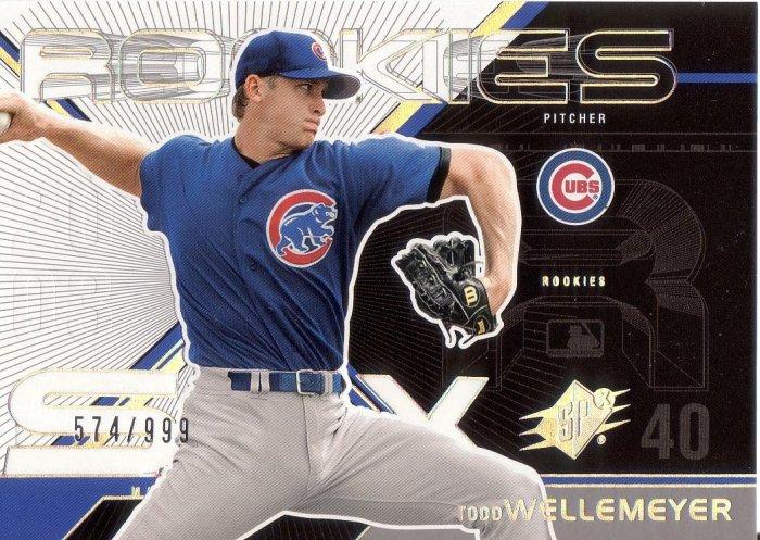 TODD WELLEMEYER 2003 SPX ROOKIES #144 ROOKIE SP# 574/999 CHICAGO CUBS AllstarZsports.com