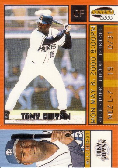 TONY GWYNN 2000 INVINCIBLE TICKET TO STARDOM #18 SAN DIEGO PADRES AllstarZsports.com