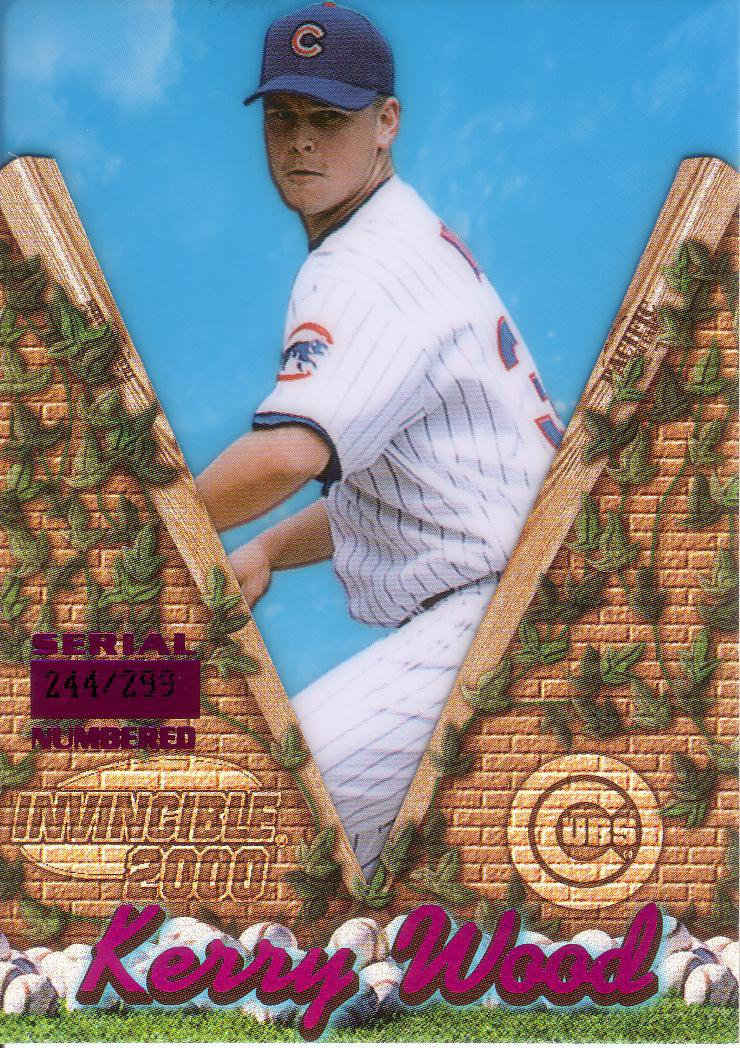 KERRY WOOD 2000 INVINCIBLE HOLOGRAPHIC PURPLE #30 SP# 244/299 CHICAGO CUBS AllstarZsports.com