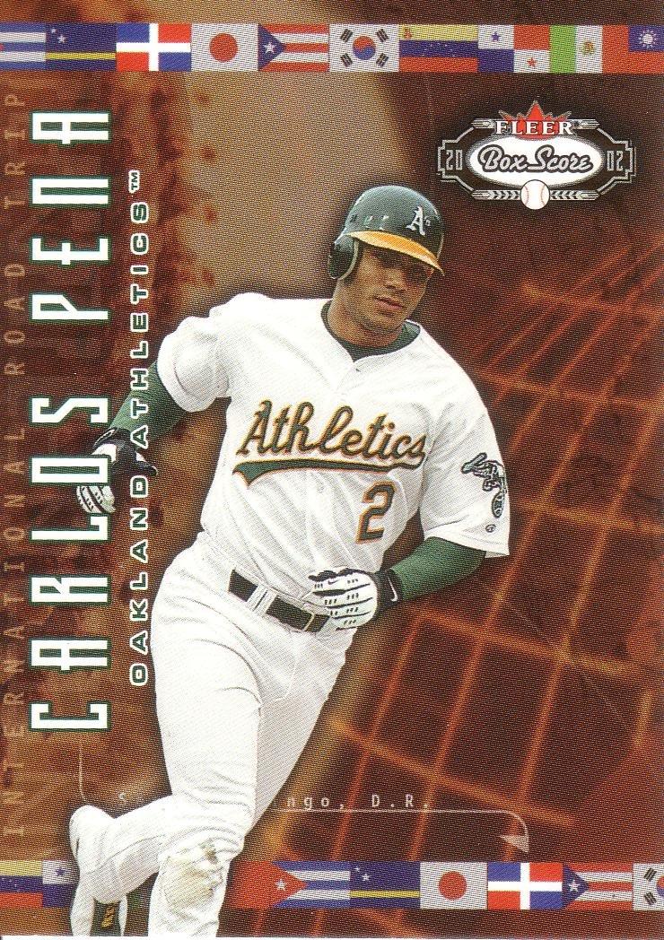 CARLOS PENA 2002 FLEER BOX SCORE ROAD TRIP #217 SP# 1482/2950 OAKLAND ATHLETICS AllstarZsports.com