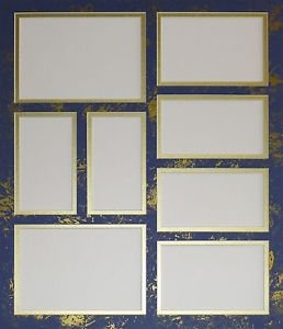 Pre-Cut Double Collage Photo Mat 8 Openings Blue Gold