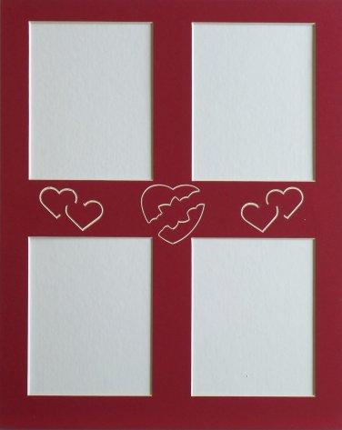 """Pre-Cut Single 11 x 14 """"Hearts"""" Collage Photo Picture Matting"""