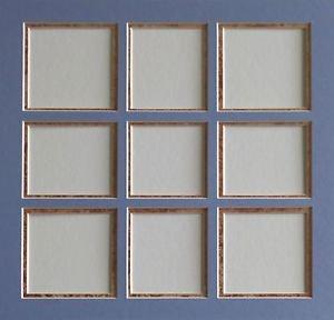 Pre-Cut Double Blue On Sponged Copper Collage Picture Photo Mat 12 x 12