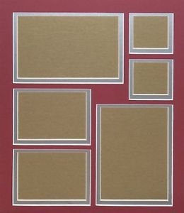 Pre-Cut Double Red On Rubbed Silver Collage Picture Photo Mat Mount 11 x 14